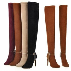 Ladies-Women-Over-the-Knee-Boots-High-Stiletto-Heel-Pointed-Toe-Shoes-Size-34-46