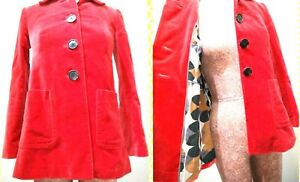 BODEN-Women-039-s-Size-2P-Red-Velvet-Fitted-Pea-Coat-Oversized-Buttons-Fully-Lined