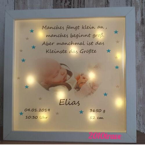 LED Bild beleuchtet Taufe Geburt Baby Geschenk Sterne Kinderzimmer Bilder