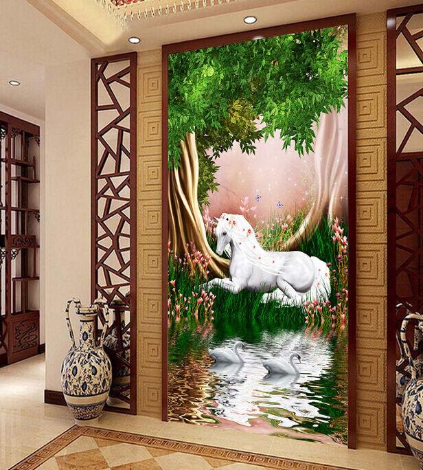 3D Galloping Horse Tree1 Paper Wall Print Decal Wall Wall Murals AJ WALLPAPER GB