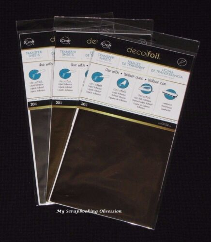 iCRAFT /'DECO FOIL/' Transfer sheets 20pcs Therm-o-web Choose from 3 Colours
