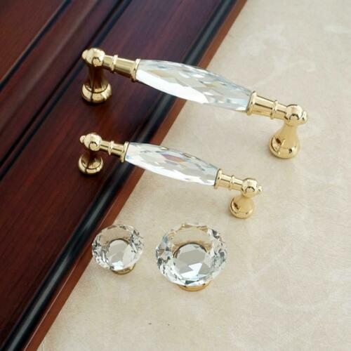 """3.78/"""" 5.0/"""" Glass Dresser Knobs Gold Drawer Pulls Crystal Cupboard Handle Pull"""