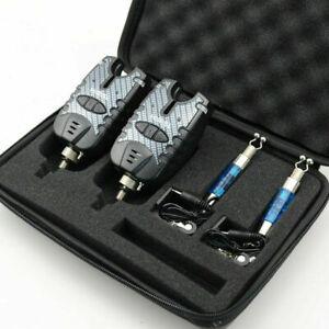 Set-of-2-Carp-Fishing-Bite-Alarm-amp-illuminated-Swinger-Set-supplied-in-case