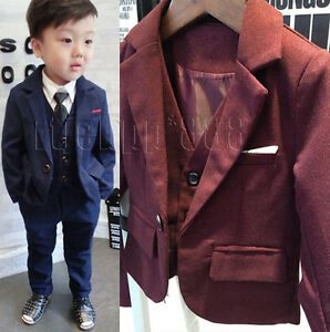 exclusive deals official sale select for authentic Details about 3 Piece Boys Tweed Blue Suit Wedding Suit Page Boy Baby  Formal Party Suits New