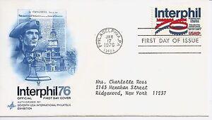 US-Scott-1632-First-Day-Cover-1-17-76-Philadelphia-Single-Interphil-76
