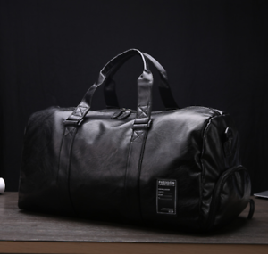 New-Mens-Black-Large-PU-Leather-Travel-Gym-Bag-Weekend-Overnight-Duffle-Handbag