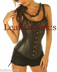 Black-Leather-under-bust-Victorian-Corset-cupless-steel-boned-top-8380