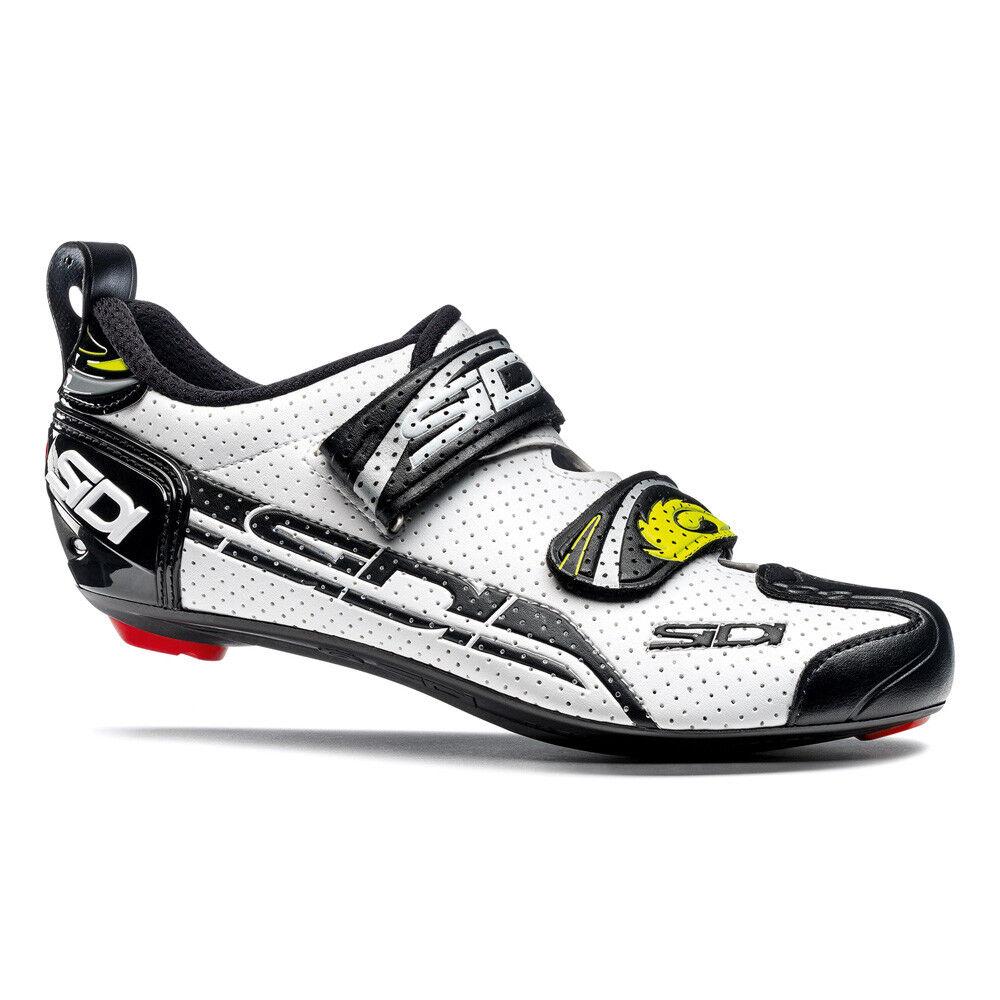 Sidi T-4 Carbono Aire Compuesto blancoo Negro 42.5 Zapatillas Ciclismo Tri
