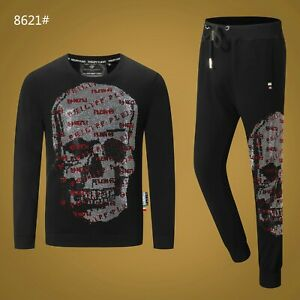 PHILIPP-PLEIN-Black-Skull-Men-Long-Sleeve-Sports-Suit-PS8621-Size-M-3XL