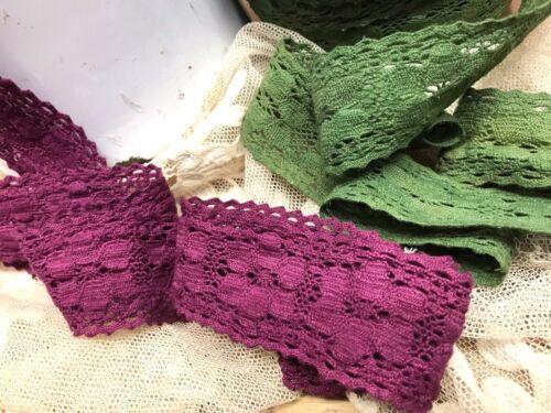 VINTAGE FLOWER MOTIF CROCHET Cotton LACE 1yd CLUNY SCALLOP EDGE