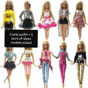 3-sets-outfit-amp-3-pairs-of-shoes-for-your-Barbie-at-random-picked-Au-Seller