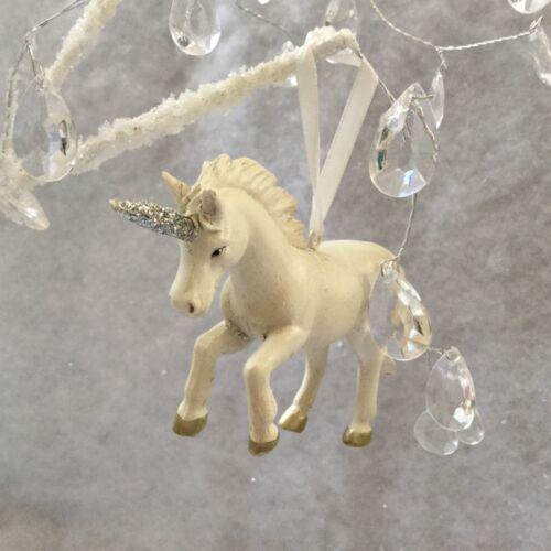 Blanc Licorne Suspension Décoration Arbre de Noël Gisela Graham Fairy thème