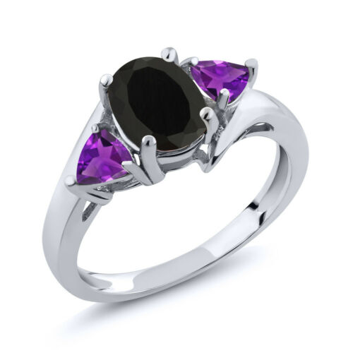 1.67 Ct Oval Black Onyx Purple Amethyst 925 Sterling Silver Ring