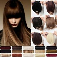 UK Real Thick Straight Bangs Clip in on Fringe Hair Extensions Human Favored