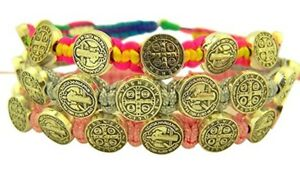 Saint Benedict Medal on Adjustable Cord Bracelet, Pink Gray and Rainbow, 3 Pack