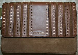 d2a577a1bc6b78 Image is loading MICHAEL-KORS-BROOKLYN-GROMMET-LRGE-CROSSBODY-LEATHER-SUEDE-