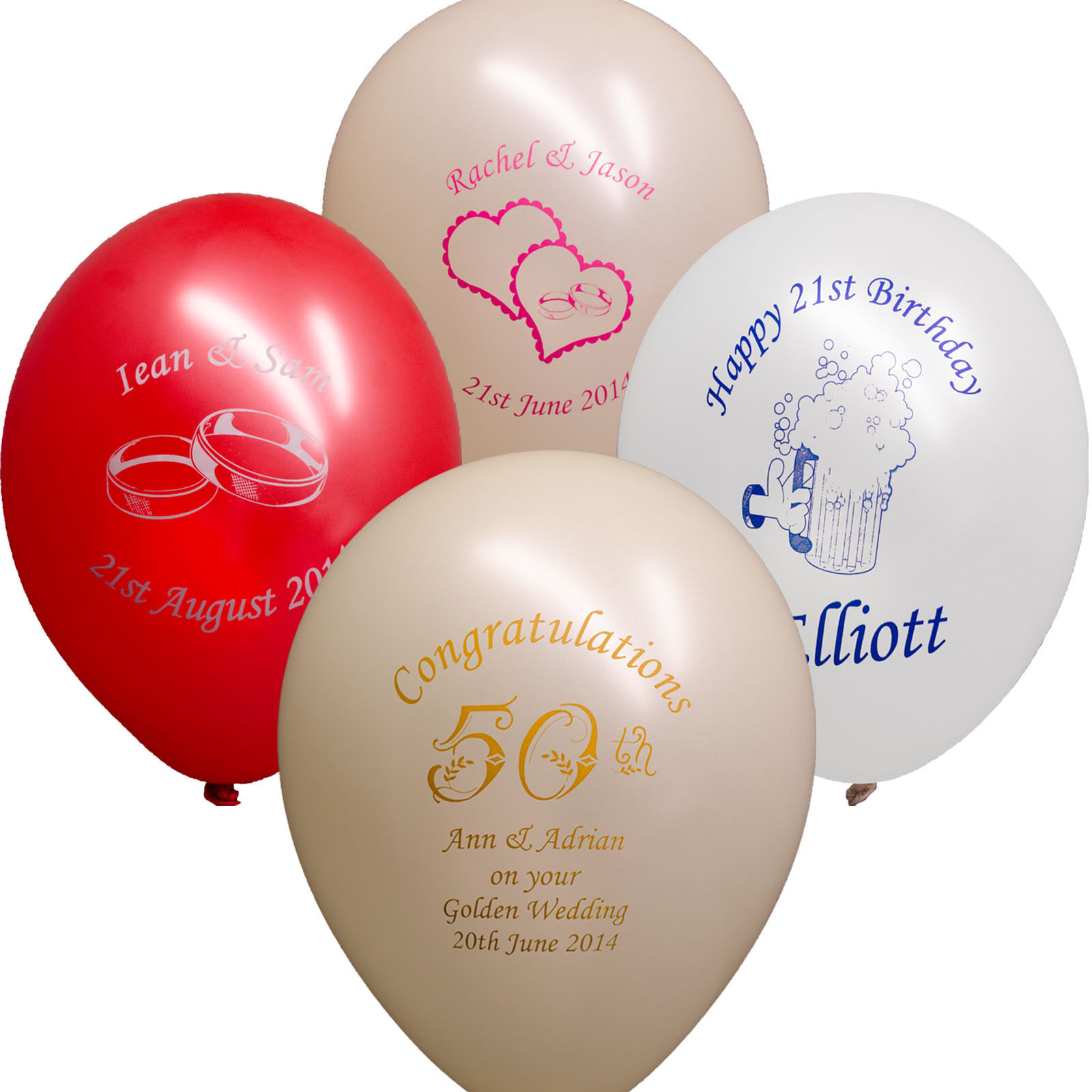 100 Wedding Birthday Anniversary Personalised Printed Party Balloons PS