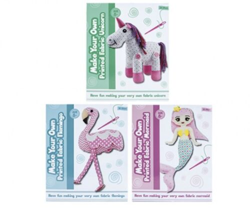 Sew your own Mermaid Flamingo or Unicorn kit to craft your own fabric friend