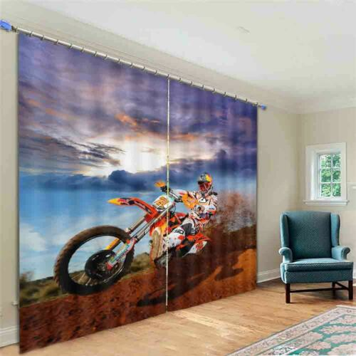 Cool Motorcycle Rider 3D Blockout Photo Print Curtain Fabric Curtains Window