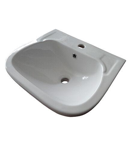 Lavabo lavandino in ceramica bianca, misura cm.50x40, per l'arrossoo bagno
