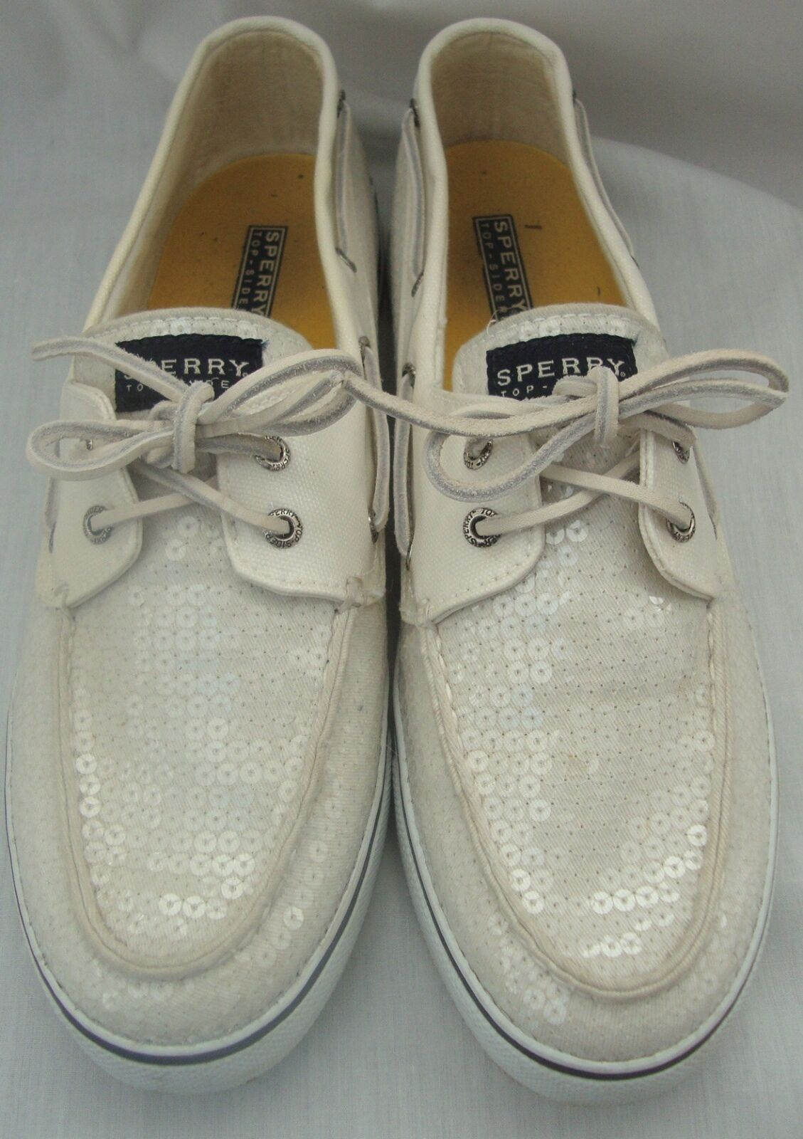 SPERRY BAHAMA WHITE CANVAS BOAT SHOES TOP SIDER COVERED IN CLEAR SEQUINS SZ 12 M