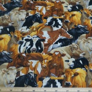 100/% Cotton Patchwork Fabric Nutex The Herd Of Cows Farm Animals