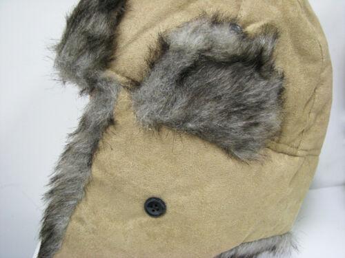 Winter Aviator Hat Trapper Earflap Trooper Faux Suedu Fur Bomber Snow Ski Cap #7