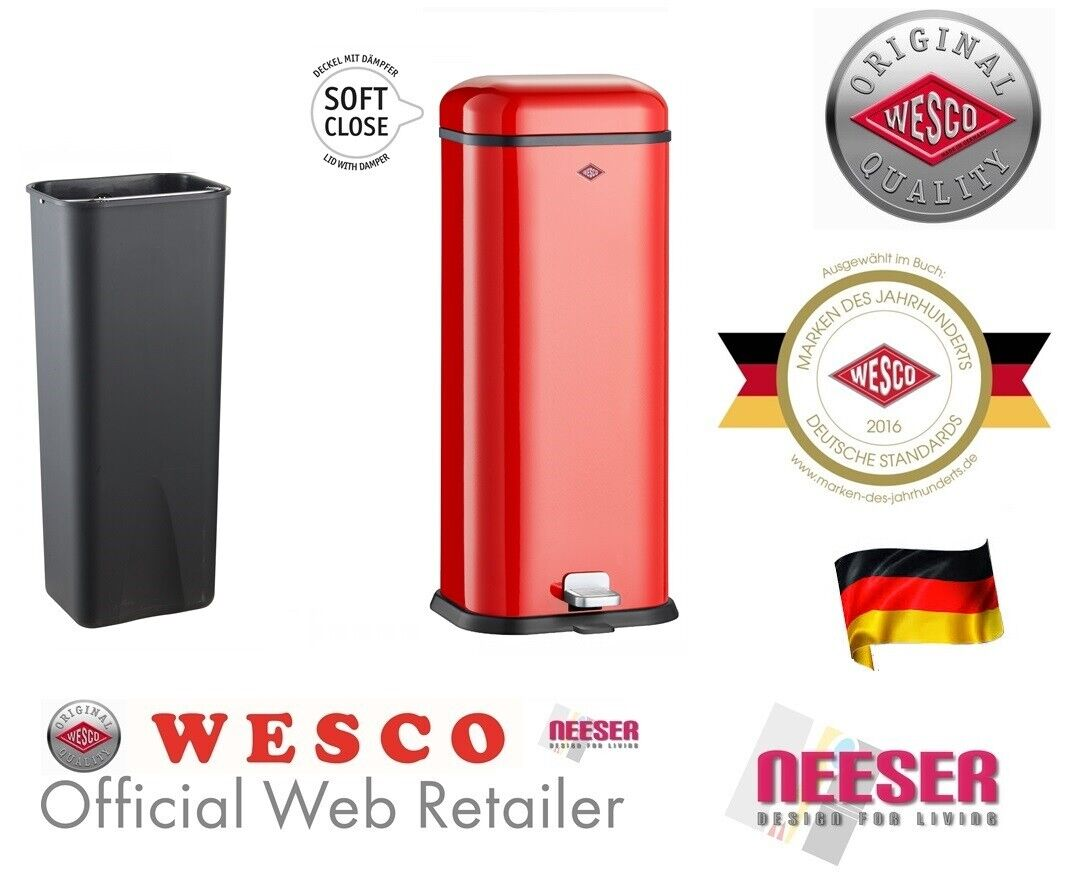 Wesco Superboy Mülleimer 20L Rot square rubbish bin new model 132312 poubelle
