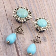 PAIR-Turquoise w/Deathly Hallow Dangle Steel Single Flare Plugs 10mm/00 Gauge