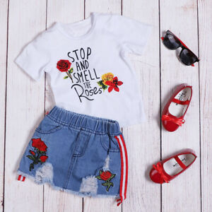 Toddler-Baby-Kids-Girls-Floral-Tops-Denim-Short-Skirts-Outfit-Clothes-2pcs-Set