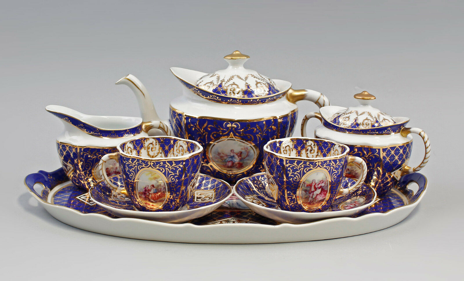 Porcelana Service Watteau-escena cobalto oro diseño antiguo 9987221
