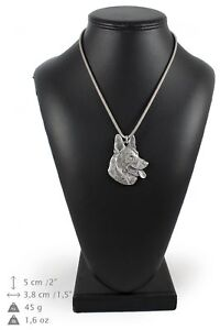 German-Shepherd-silver-plated-pendant-on-the-silver-chain-Art-Dog-IE