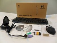 In Box Logitech Cordless 1500 wireless Keyboard Rechargeable Mouse Desktop
