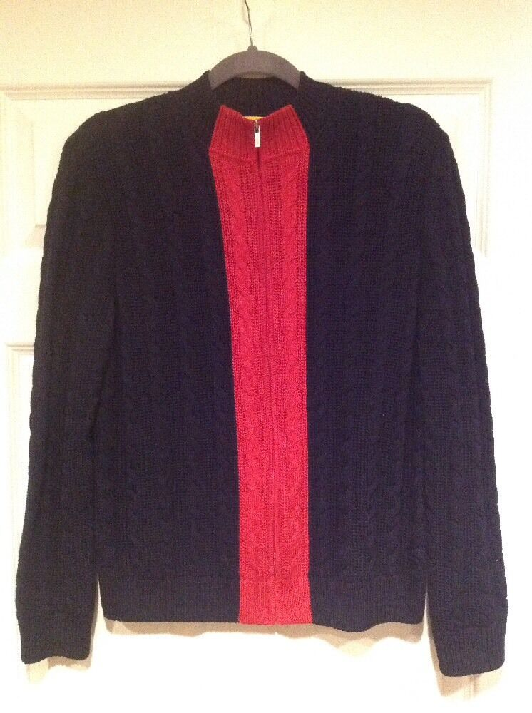 St. John Yellow Label Navy bluee Red Cable Knit Wool Cardigan Sweater, Size Small