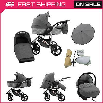 Baby Carrozzina Neonato Car Seat 3in1 Buggy Passeggino Passeggino Culla Portatile Sistema Da Viaggio- Belle Arti