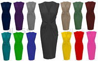 WOMENS KNOTTED DRESS PARTY MIDI ROUCHED BODYCON V NECK LADIES 10-14 SLEEVELESS