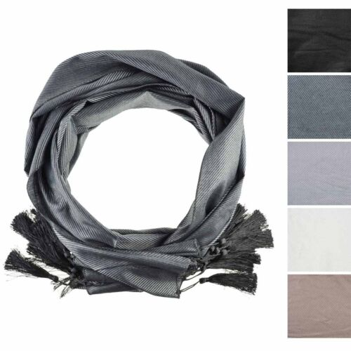 Ladies New Plain Big Tassel Shawl Scarf Woven Neck Shiny Fabric Wrap Hijab
