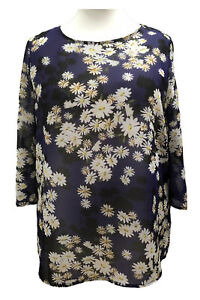 Plus-Size-summer-Tunic-Tops-Sheer-Ditsy-Navy-Floral-Print-Daisies-UK-Sizes-to-36