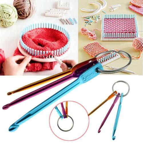 Multi colour Aluminum Crochet Hooks Yarn Knitting Needles Set Kit Craft Tool LP