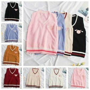 Lady Girls Cute Vest Knit Sweater Stripe Tank Top Kawaii Piggy Waistcoat JK Chic