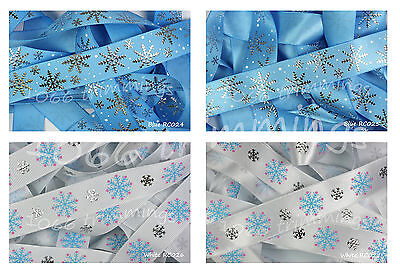 Reel Chic Ribbon Collection Frozen Silver Snowflakes on Blue Grosgrain 22mm Wide