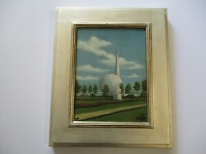 SMALL GEM OIL PAINTING WORLDS FAIR 1939 NEW YORK LANDSCAPE HISTORIC SIGNED MP