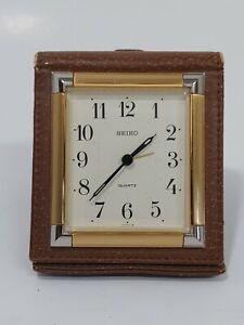 Vintage-Seiko-Folding-Travel-Clock-Brown-Leather-W-Gold-Trim-Case-Japan-Quartz