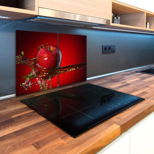 Glas-Herdabdeckplatte Ceranfeldabdeckung 2x40x52 Zweiteilig Apfel und Wasser