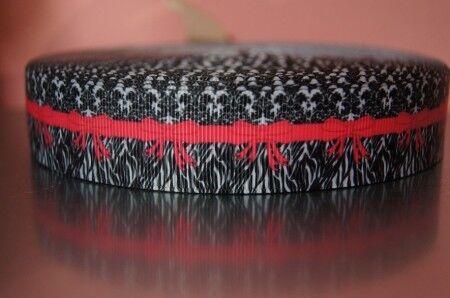 Webband 1588 Muster mit Roten Streifen 25mm Breite Ripsband Borte