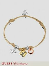 NWT GUESS Mixed Metal Trio Charm-Stones Tan Friendship Bracelet-Exclusive Line