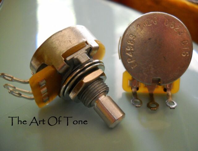 Two (2X) - CTS 1 MEG Short SOLID Shaft  - Audio Taper Potentiometer / Pot