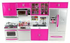 Toy Kitchen Play Set Sink And Cabinet Shelf Doll House Size Battery