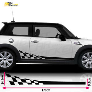 Fits Mini Cooper S Side Racing Stripes Car Stickers Decal Vinyl