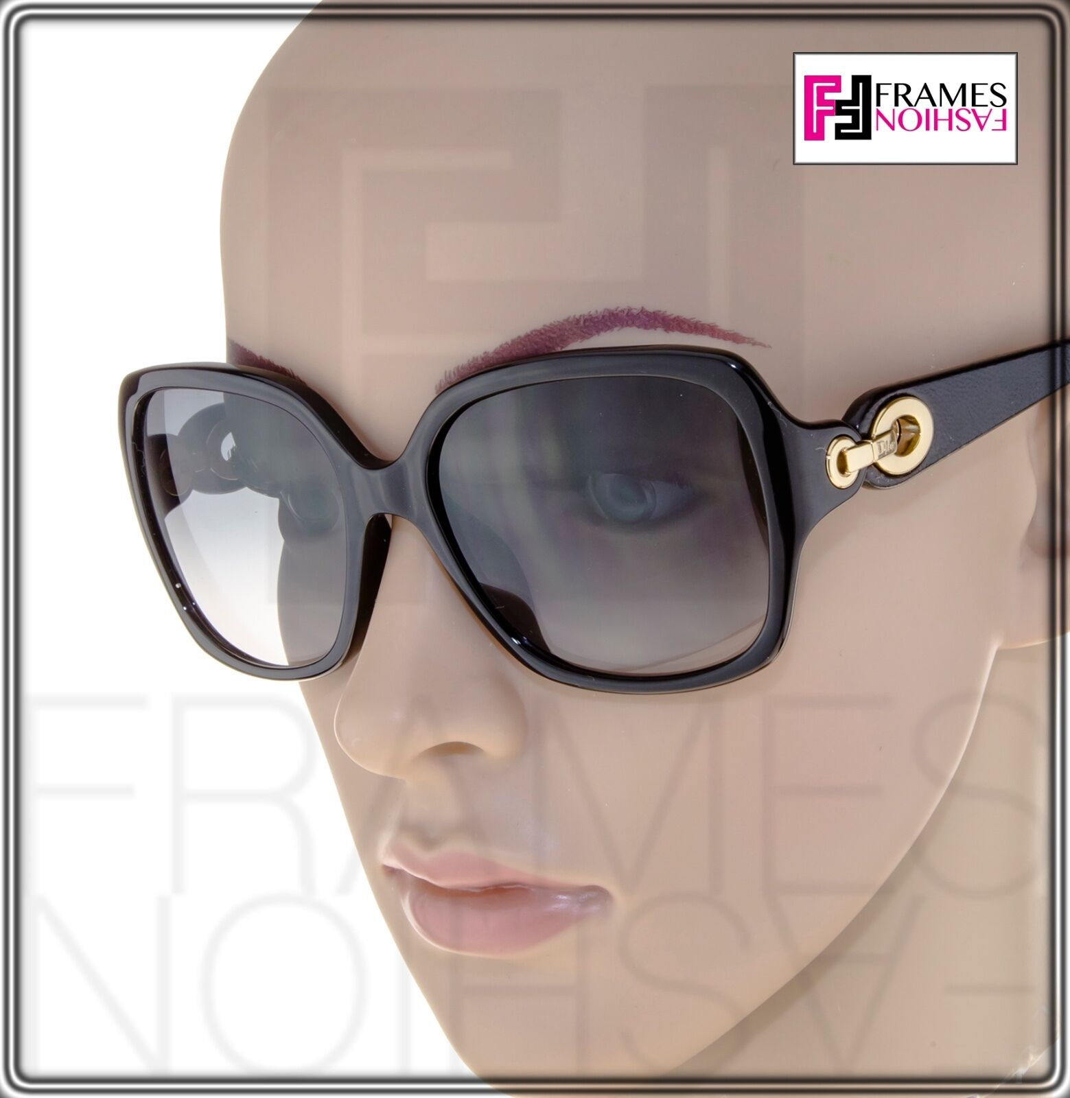 CHRISTIAN DIOR ISSIMO 1N Black Brown Leather Gold Sunglasses DIORISSIMO